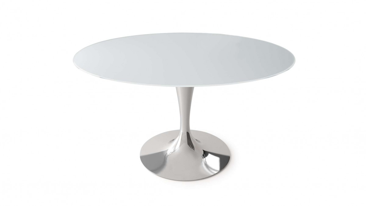 Table Sovet Flute Round Polished Chrome