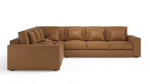 Convertible CDI Collection Long Island Corner Sofa Bed Leather Beige