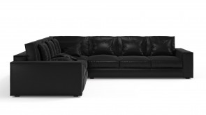 Convertible CDI Collection Long Island Corner Sofa Bed Leather Black