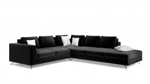 Canapé D'Angle CDI Collection Smith Corner Sofa Leather Black