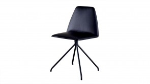 Chaise Sovet Silla Trestle Black Leather